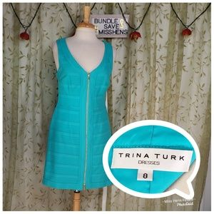 TRINA TURK AQUA TURQUOISE TEXTURED DBL ZIP DRESS